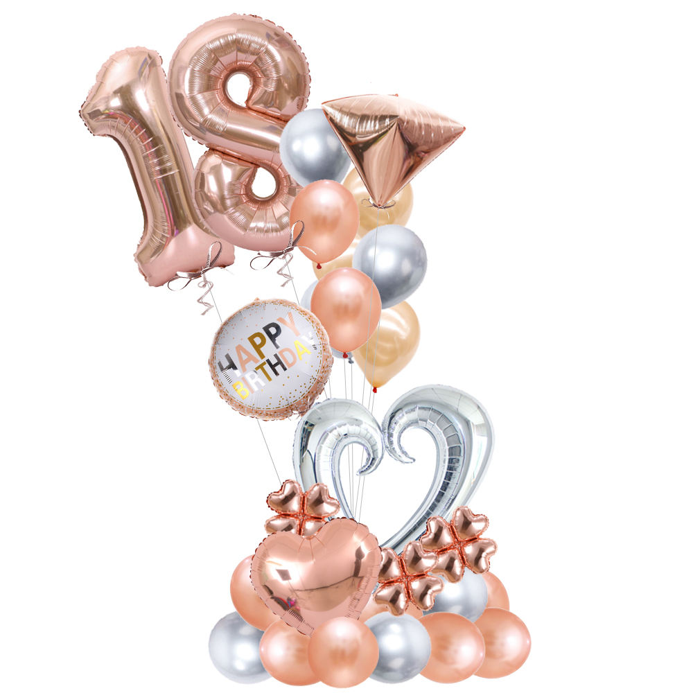 40 inch rose gold,gold ans silver assorted color number globos foil balloons for birthday party