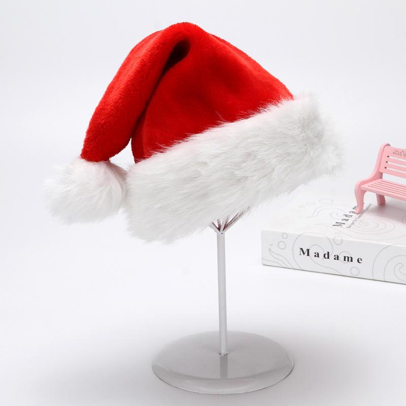 Рождественская шапка Tiktok, двойная толстая плюшевая Красная шапка, Рождественское украшение
