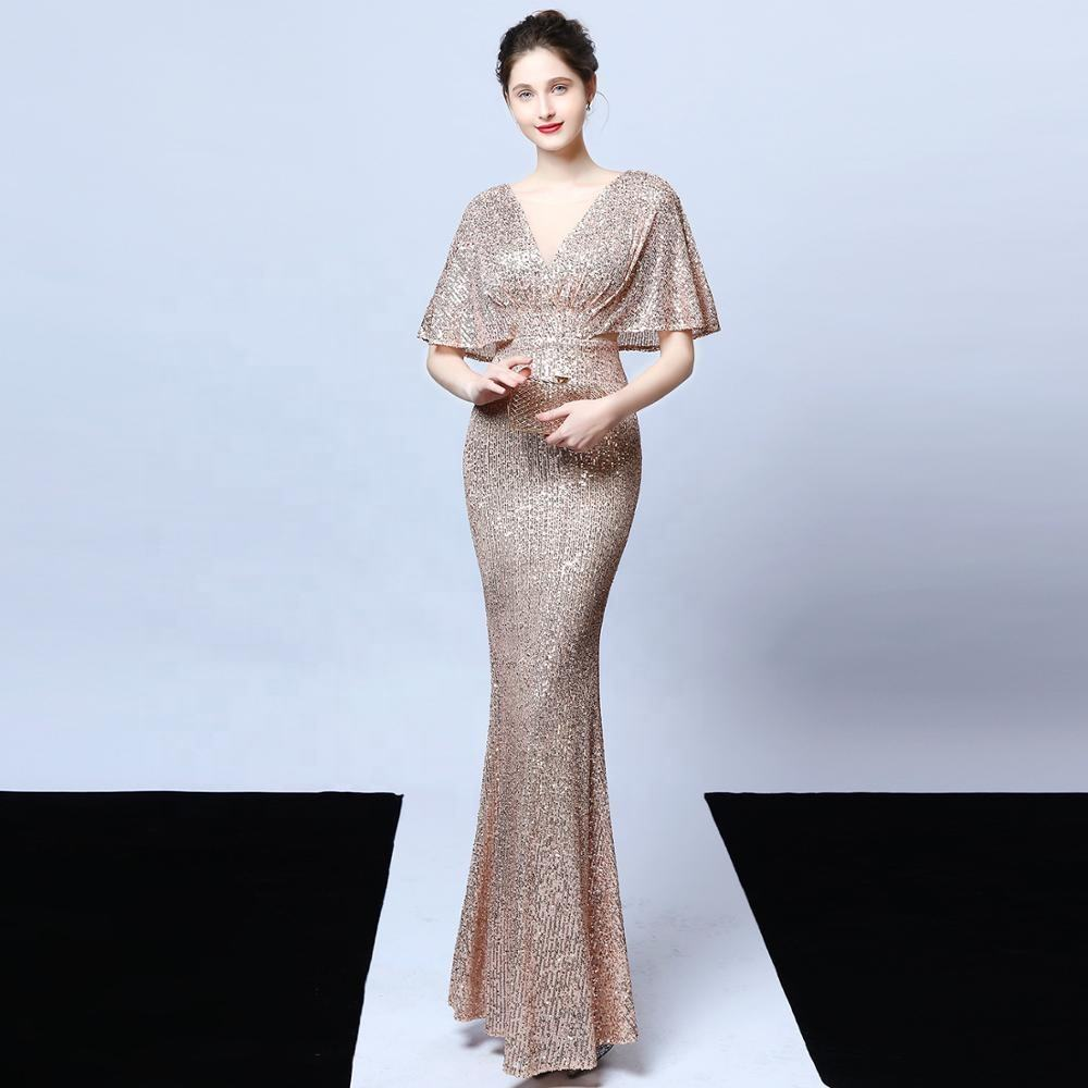 2020 new arrivals cloak design dinner wear dresses bridesmaids 6 colors sequin sexy backless party formal evening gown long