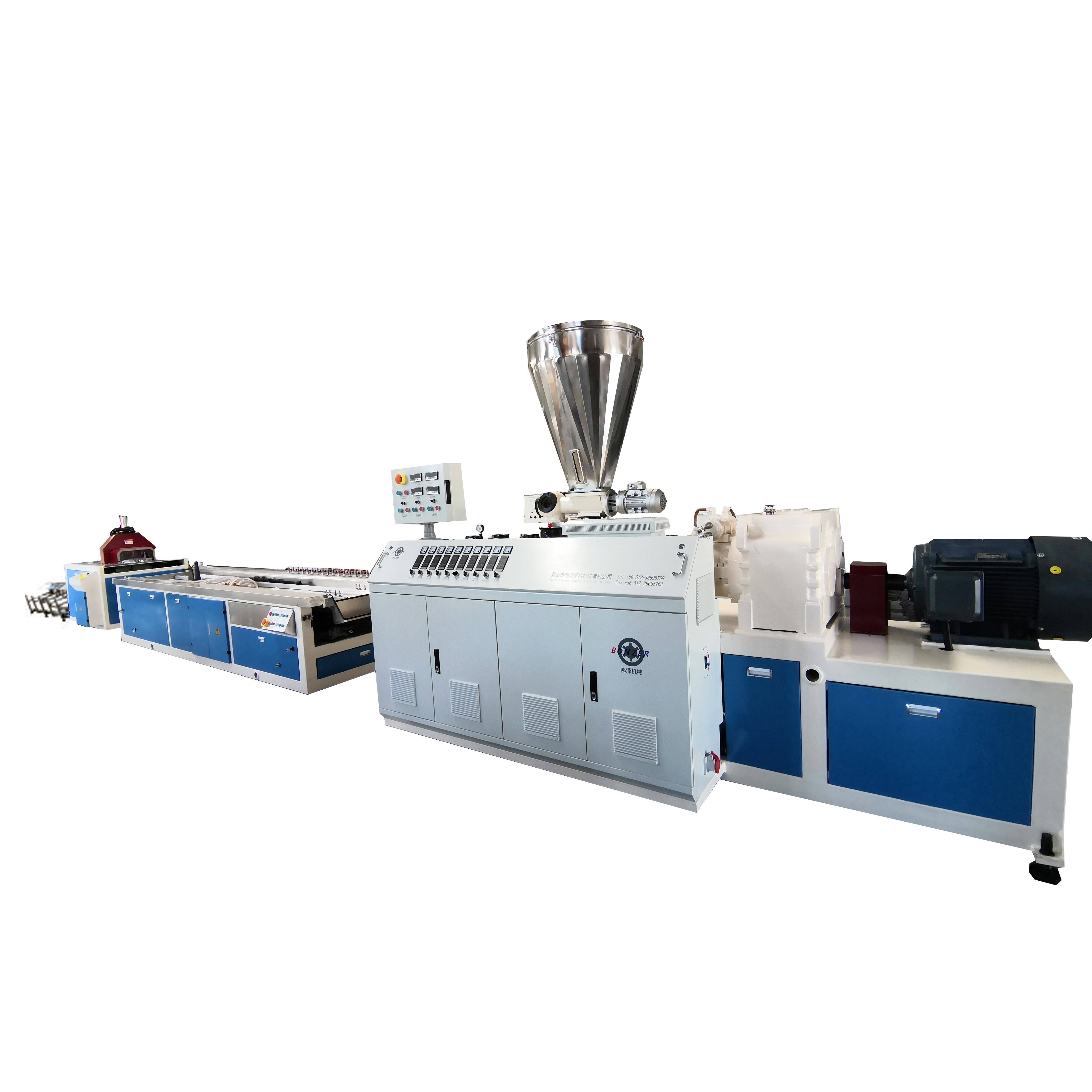 SJZ65/132+YF400 Plastic PVC Wall Tile Paneling Conical Twin Screw Extruder Extrusion Making Machine With Online Lamination Line