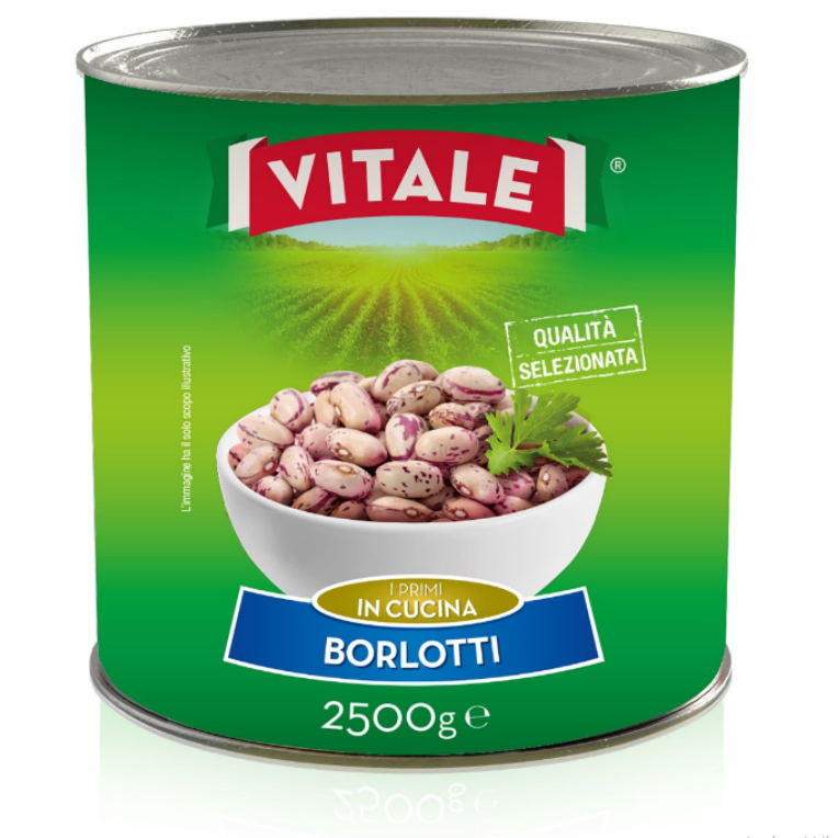 "Borlotti beans rehydrated in water and salt ""VITALE"" brand 2500g"
