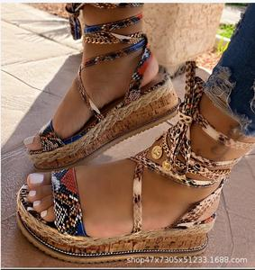 Dropshipping Women Sandals Mid Heel Summer Bandage Women's Shoes Open Toe Boho Color Snake Pattern Plus Size 35-43