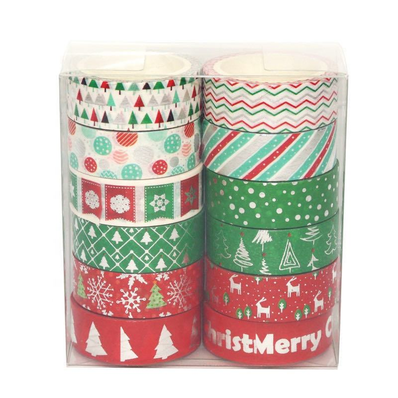 12 Rolls Christmas Washi Tapes Washi Masking Decorative Tape Christmas-Themed Adhesive Tapes for DIY Craft Scrapbook Decoration