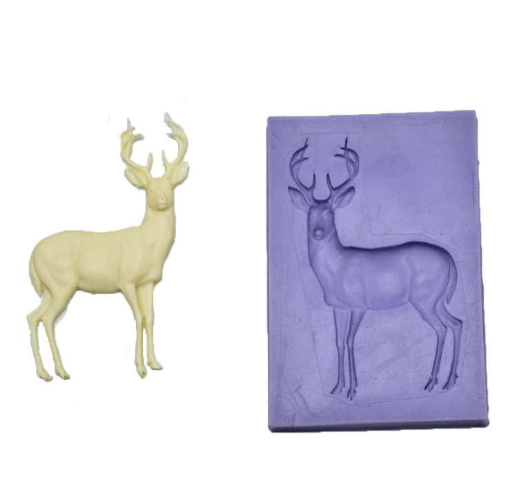 2019 Best selling Christmas style Milu deer decorative cake mold fondant silicone Chocolate mold