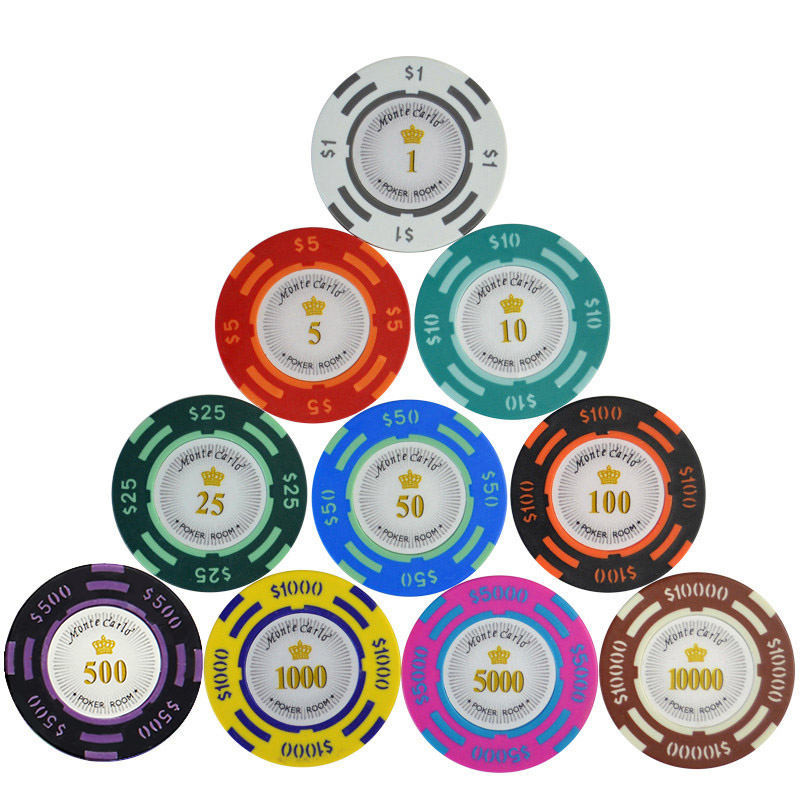40mm monte carlo 14g clay with sticker numbers gambling coin jetton tag poker chips