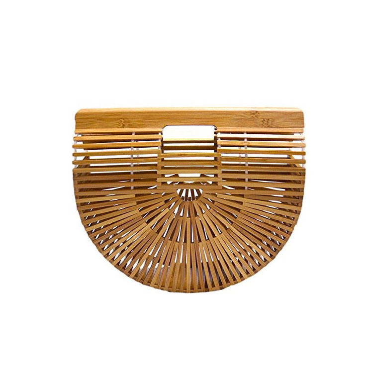 Handmade Retro summer beach bamboo woven rattan ladies portable straw bag