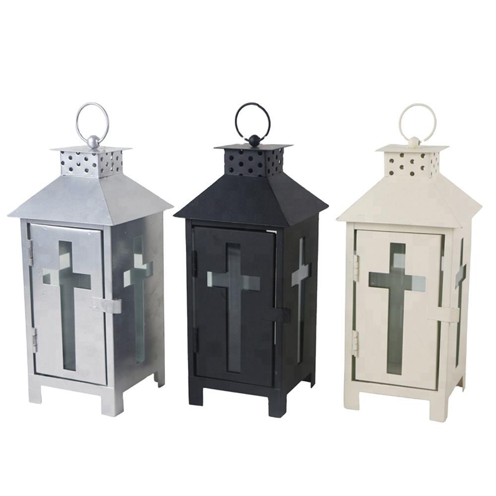 Cross decorative hanging grave cemetery metal candle lantern