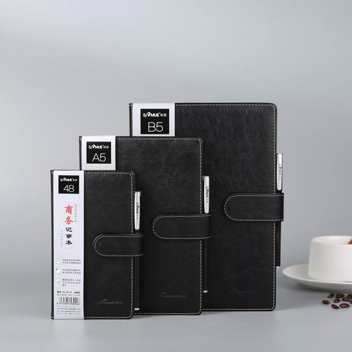 B5 black hardcover leather business notepad journal notebook with pen holder