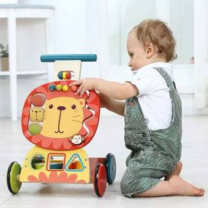 Selling Wooden Cartoon Cute Little Lion Pocket Jogging Baby Doll Stroller Toy