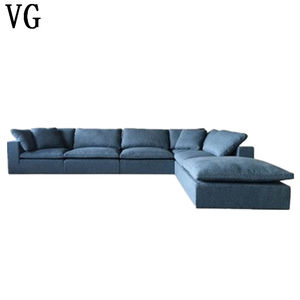 Concise America style popular living room furniture sectional couch L shape cloud sofa