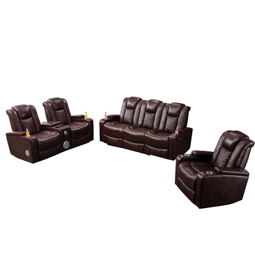Luxury Genuine Leather Multifunctional Recliner Sofa Set with Bluetooth and Cooling Cup Holder for Living Room