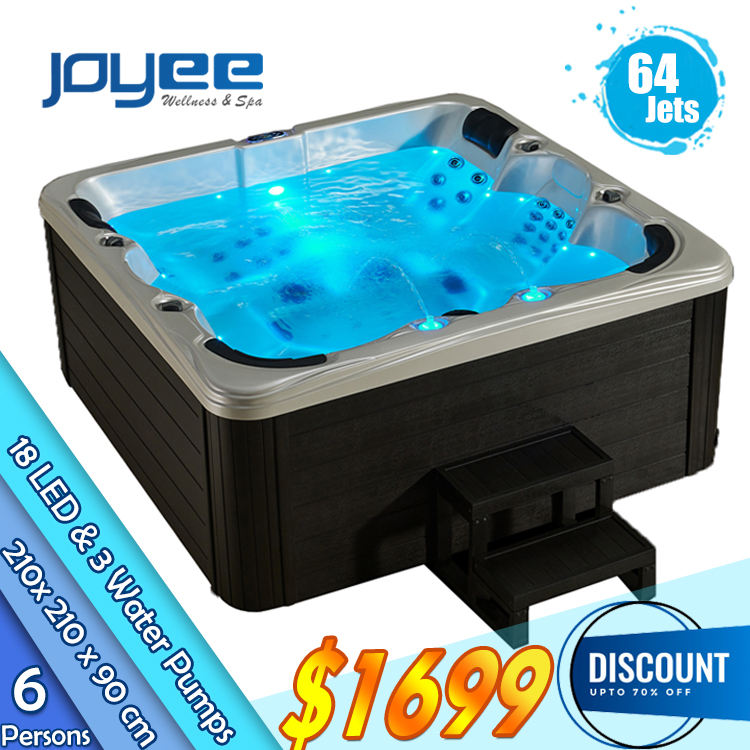 JOYEE Eropa Harga Murah Hot Sale 64 <span class=keywords><strong>Jet</strong></span> Outdoor Spa Hot Tub Jacuzzi Fungsi Hydro Pijat Whirlpool Pijat Bathtub Spa