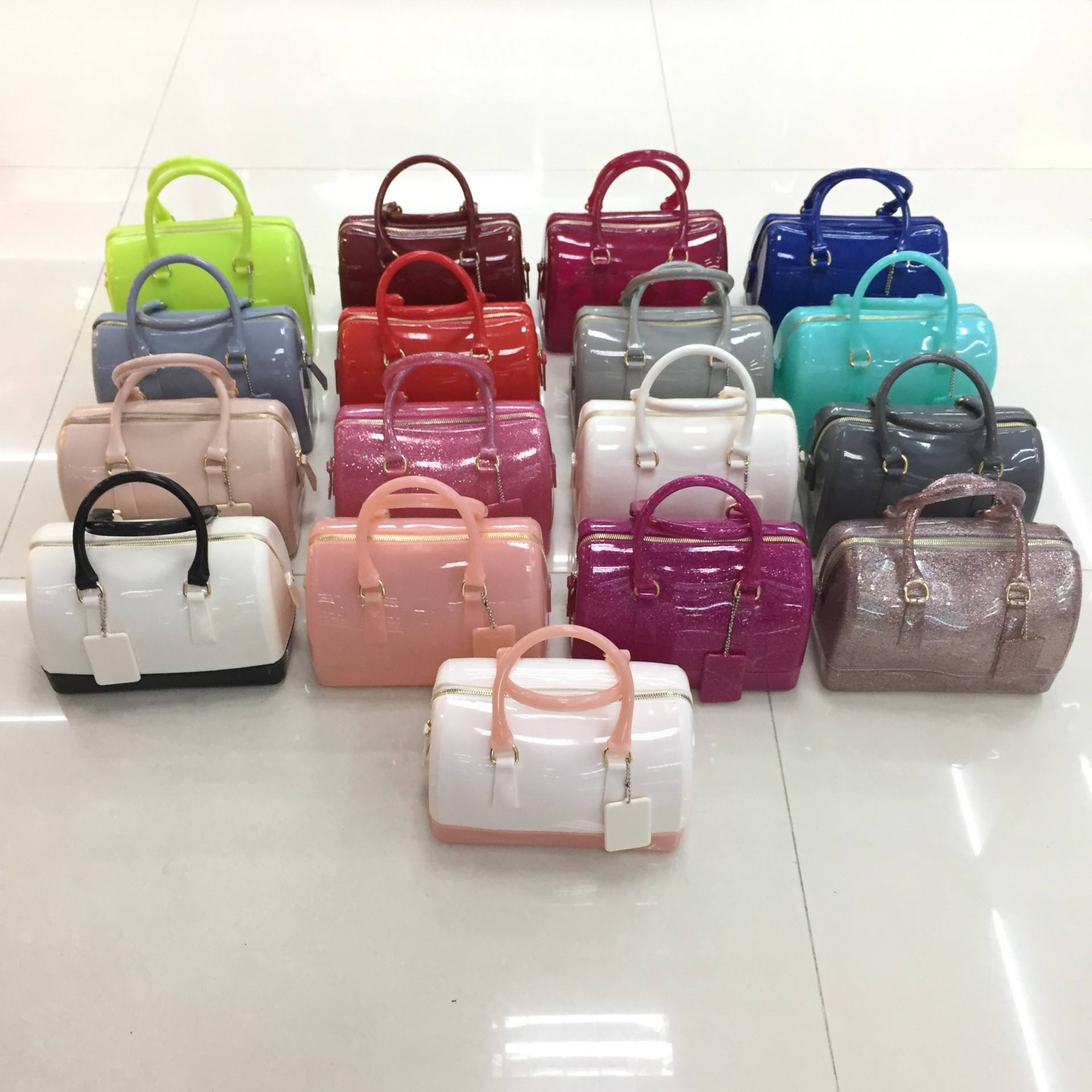 Woman summer PVC jelly bags small pillow shaped candy color sweet ladies portable beach clear tote handbag