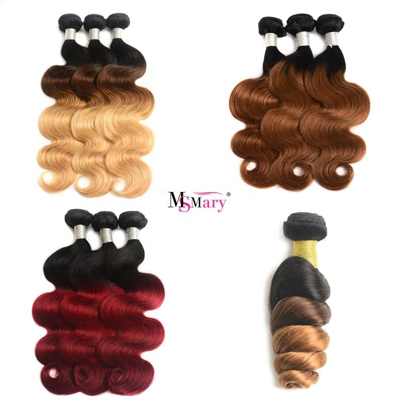 10A 2/3 tone color Straight / Body / Loose / Deep Wave / Curl Brazilian Human Hair For Wholesale