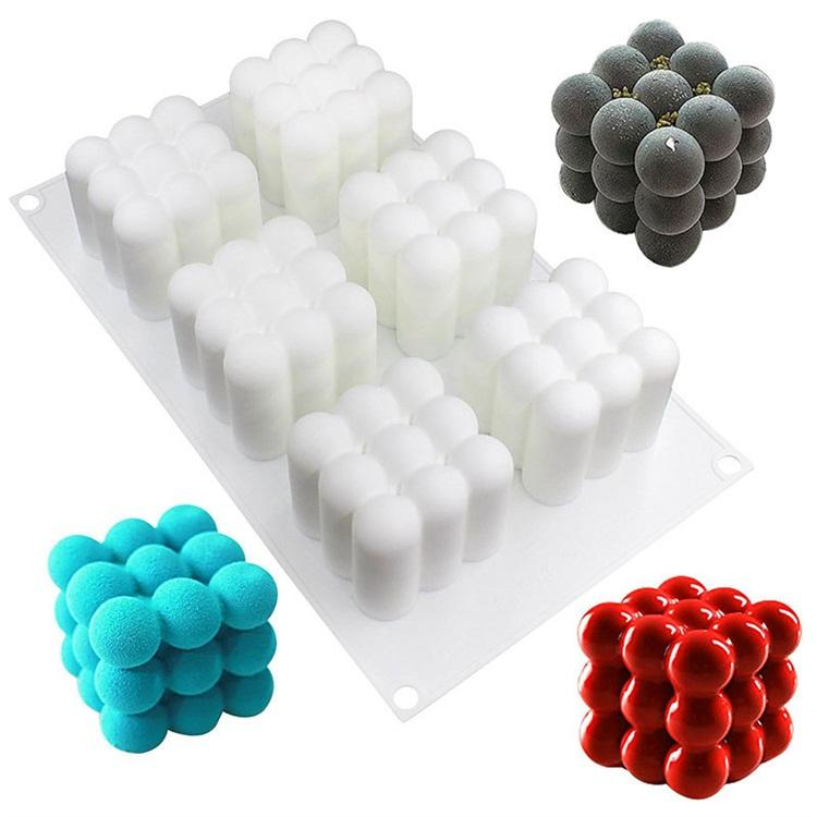 Baking Articles 6 Grid Three Dimensional Magic Cube Style Cake Molds Silicone Moulds