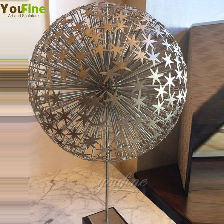 Modern large indoor stainless steel Dandelion sculpture for home decoration