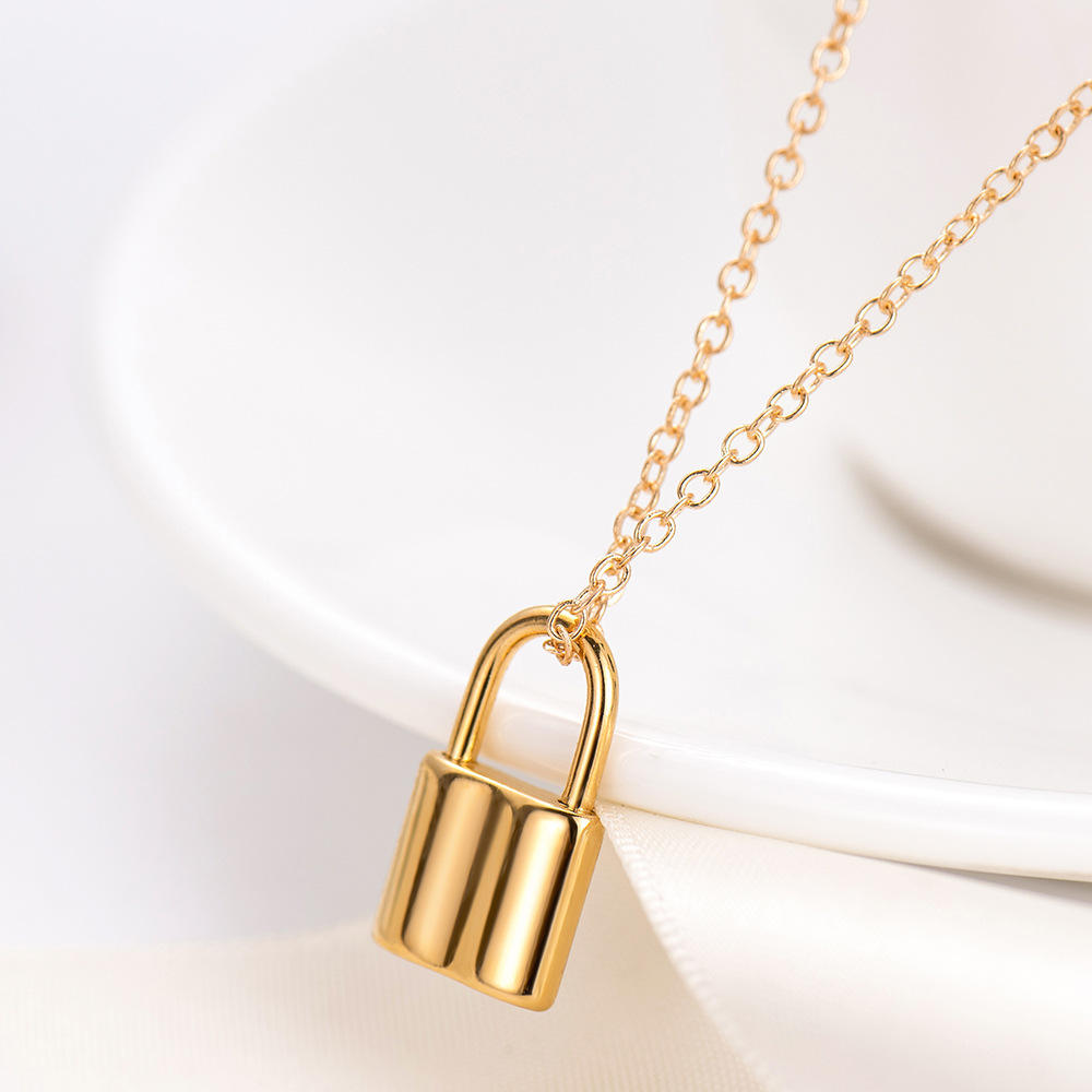 [ Charm ] 2020 New Fashion Lock Shape Silver 14k Gold Plated Necklace Charm For Women