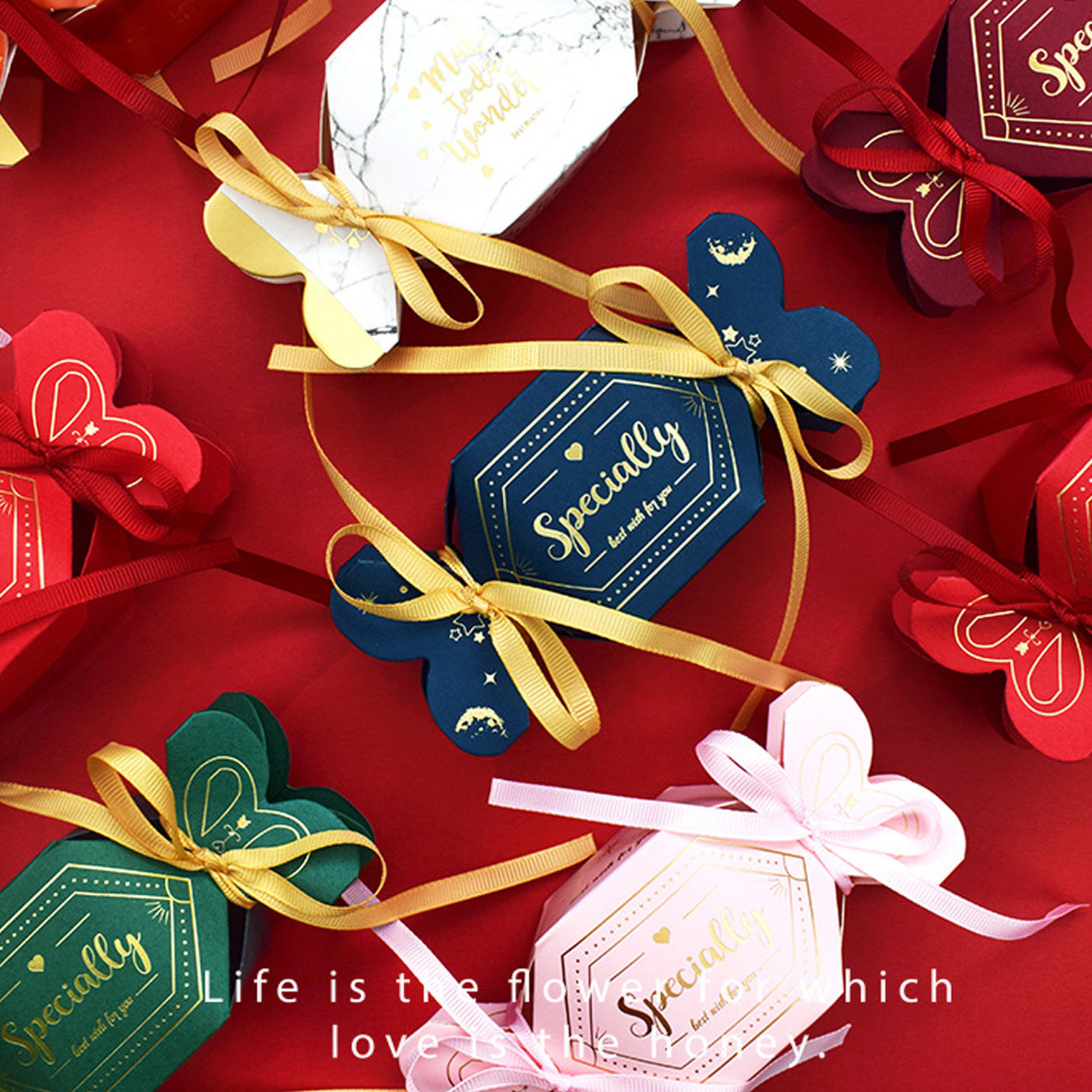 Custom Logo Creative Gold Foil Pentagonal Unique Shape Wedding Paper Candy Box