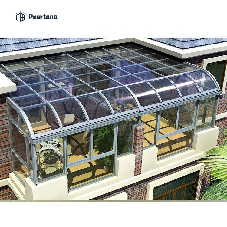 Grey Color Laminated Glass House Free Standing Sun Rooms/Sunroom Kit