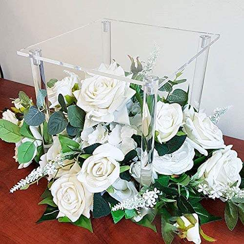 Acrylic Elegant 9.9 Inch Tall Wedding Flower Stand Clear Pillar Decorative Vases Rectangular Wedding Centerpiece Event Party