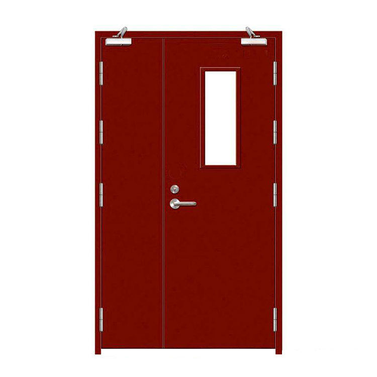 warehouse hollow metal entry swing interior fireproof glass window flush exit security door for school or warehouse