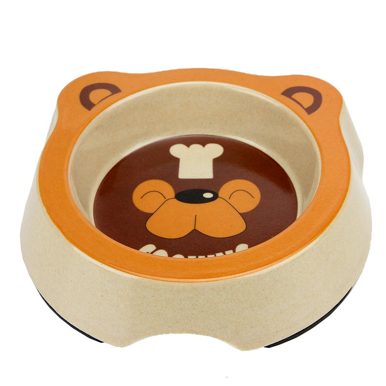 Eco Bamboo Fiber Plastic Pet Food Bowl Dog Feeding Double Bowl For Wholesale