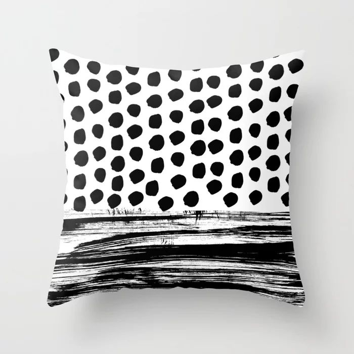 Fashionable custom Black and white dots stripes painted printed hand-drawn cushion cover Throw Pillow case sofa pillow covers