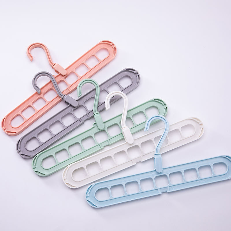 Manufacturers custom multifunctional creativity can be rotated air drying clothes plastic nine hole hangers