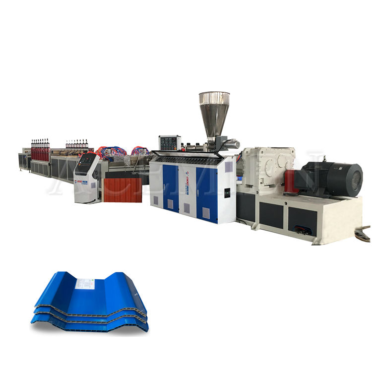Snelle Levering Pvc Plastic Twin Muur Wave Dak Tegel Pvc Gegolfd Holle Sheet Extrusie Machine