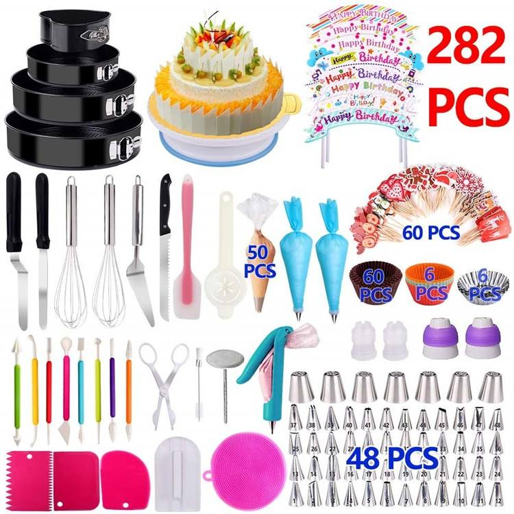 Amazon Top Seller Nozzle Decoration Tip Kit Box Baking Supply Turntable Fondant Accessories Mould Cake Decorating Tool Set
