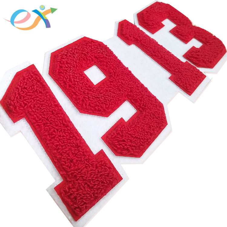 Wholesale custom varsity letterman jacket embroidery red text sorority logo greek number letters 1913 chenille patch
