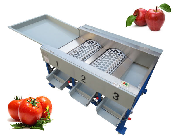 Automatic Mini Fruit Sorting Machine 3 Drums Tomato Apple Grader Fruit Vegetable Sorting Line
