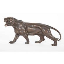 Zoo decoration metal casting animal statue life size  bronze tiger sculpture on sale