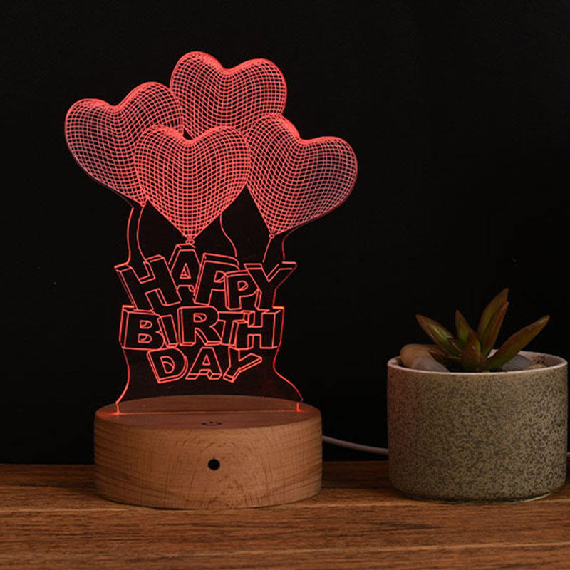 3D Visual Bedside Lamp Wooden Stand Base Engraved Custom Illusion LED 3d Night Light Lamp For Romantic Gift