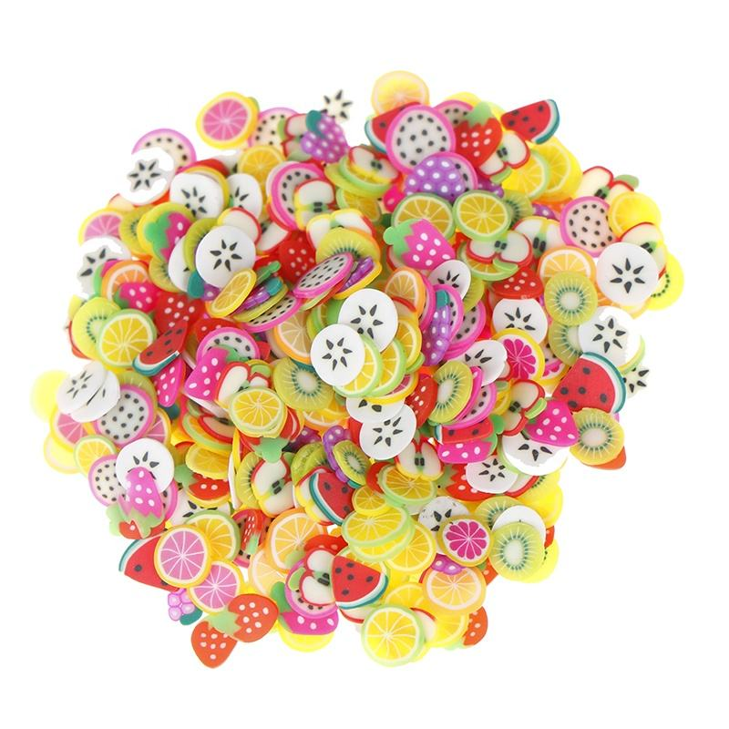 500g Soft Polymer Clay Fruits Slice 5mm Clay Lemon Kiwi Grape Strawberry Fruit Slices Sprinkles for Slime DIY Nails Supplies