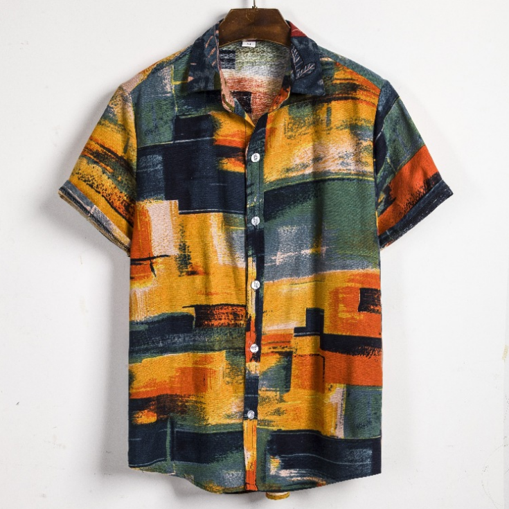 Wholesale Summer New Men's Ethnic Short Sleeve Linen Large Size Casual Abstract Print Shirt