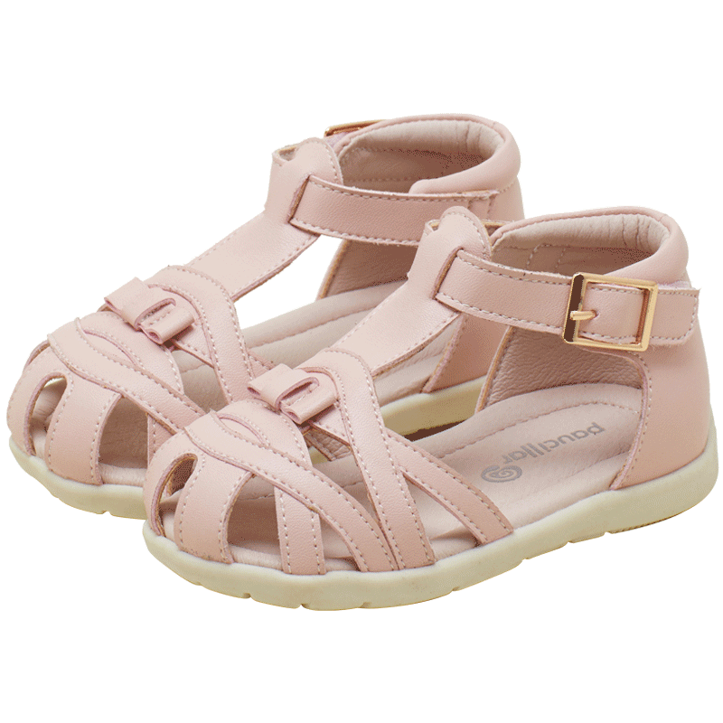 2020 most fashion Hot sale In Stock Girl Around Ankle Stripe Flat Kids sandal Shoes for 1-5 years old