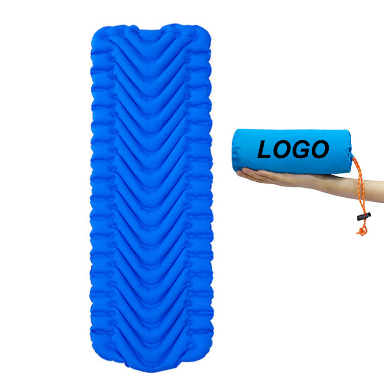 Quick <span class=keywords><strong>Zelfopblazende</strong></span> Outdoor Slaapmat V-Chambers Nylon Luchtbed Matras Voor Backpacken