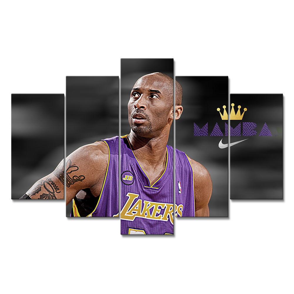 5 panels Gallery Wrapped Black Mamba kobe bryant poster canvas prints