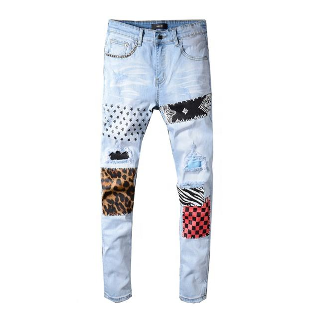 Factory Supplier Good Price Ripped Skinny Pants Denim Jeans Patched Men