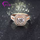 Dignified well made 14k rose gold jewelry with 3ct cushion cut moissanite diamond wedding ring in 2 halos