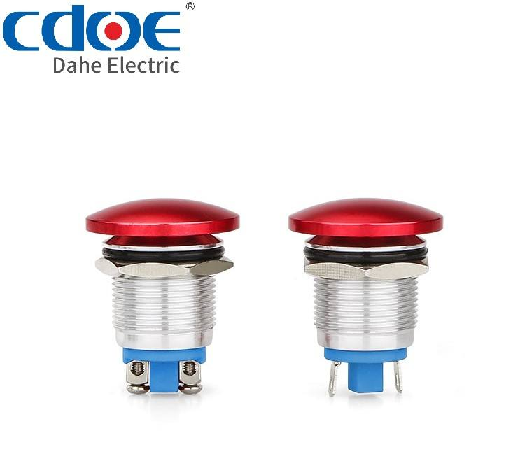 22mm mushroom emergency reset reliable industrial metal push button switch