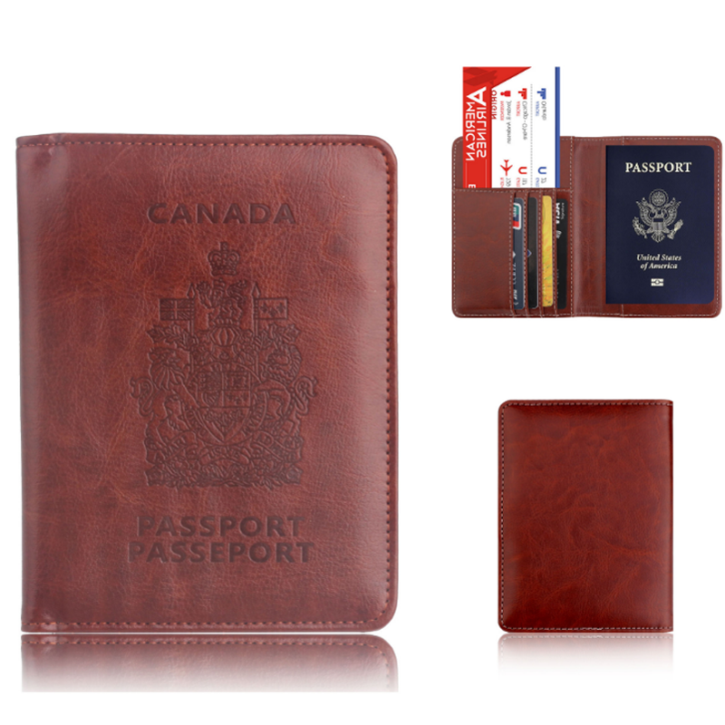 RFID Blocking Multi-functional waterproof PU leather ticket card passport holder travel