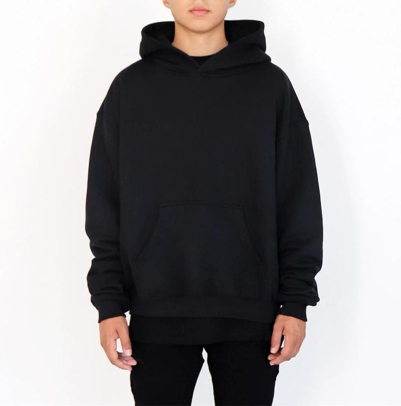 2020 Custom high quality logo Blank men's Hoodies Wholesale oversized street 100% cotton black hoodie For Man