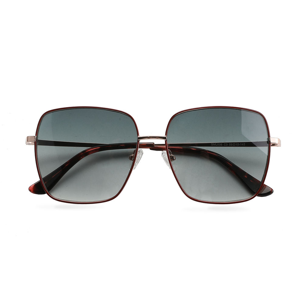 SML006 women big face metal frame sunglasses