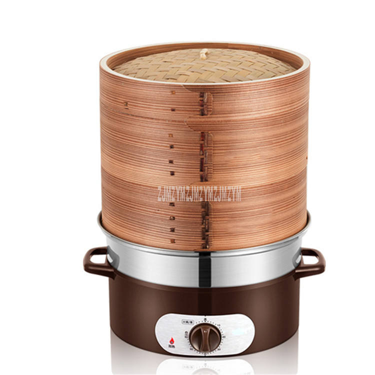 1350W Whole bamboo Double Layer Electric Steamer Soup Food Steamer 60min Timing Multi-functional Household Cooking Appliances