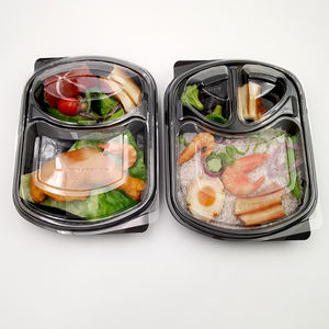 Wholesale disposable takeaway plastic food container 3 compartments food container