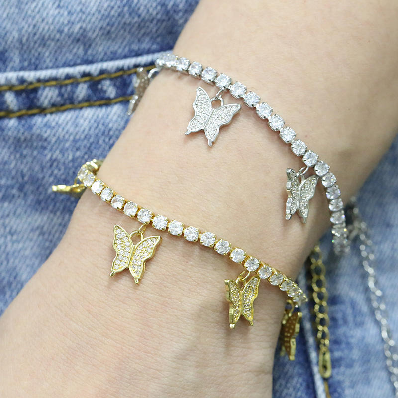 Factory price colorful gold brass charm rainbow bracelet Butterfly link zirconia butterfly bracelet