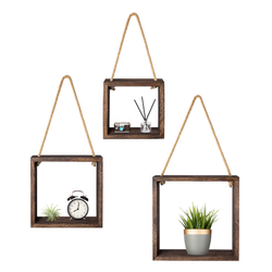 Hanging Square Floating Shelves Wall Mounted Cube Display Sh