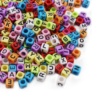 7mm cube acrylic alphabet letter beads for sale